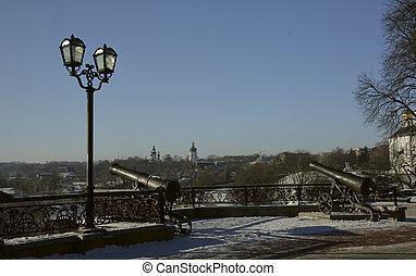 Cannon in Chernigov, Ukraine, next to the lamp