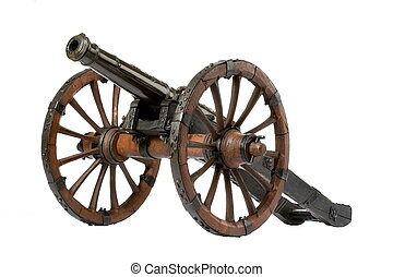 cannon on a wooden carriage - cannon on a wheeled carriage...