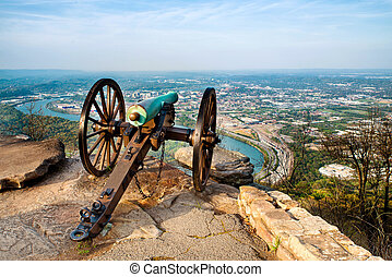 Cannon overlooking Chattanooga - Civil war era cannon...
