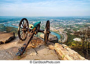 Cannon overlooking Chattanooga - Civil war era cannon...