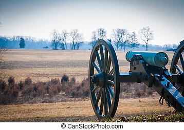 Cannon overlooking field - Photograph of a civil war era...