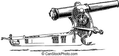 Cannon short- or 155 mm howitzer on lookout, vintage...