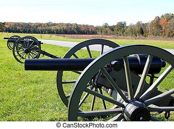 cannon trio - trio of cannons at gettysburg
