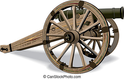 Cannon - image of field-gun of times of American Civil War,...