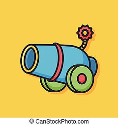 Cannon weapon vector icon