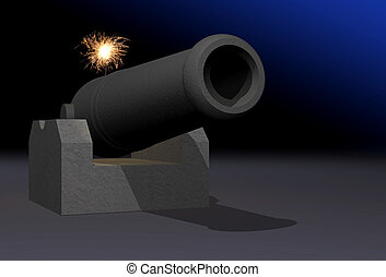 Cannon with burning fuse