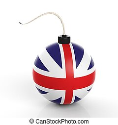 Cannonball bomb with flag of UK, isolated on white background.