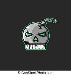 Cannonball emblem in the shape of a human skull with teeth sticker, a pirate logo for a print on a T-shirt