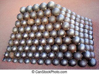 Cannonballs in the Palace of Monaco - Pile of cannonballs in...