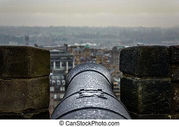 cannone, castello, edinburgh