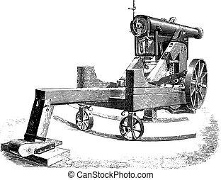 cannone, modificato, quadrato, engraving., guardia, 138m/m, vendemmia