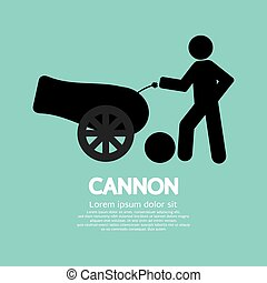 cannone, nero, simbolo., umano