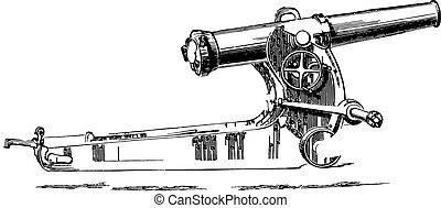 cannone, o, short-, engraving., guardia, millimetro, vendemmia, 155, obice