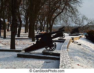 Cannons in a row in Chernihiv Val park