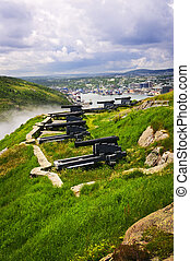 Cannons on Signal Hill near St. John's in Newfoundland ...