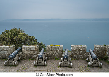 Cannons on the walls of St Michaels Mount