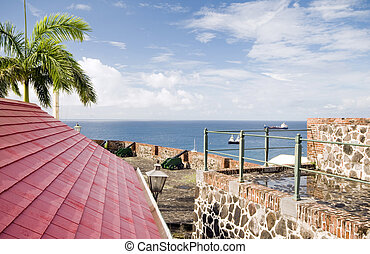 cannons over harbor Fort Oranje Oranjestad Sint Eustatius island in the Caribbean Netherlands