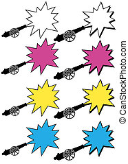 cannons with stars - isolated vector illustrations of black...
