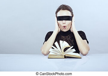 Cannot see and hear - Turned book and screaming lady with...