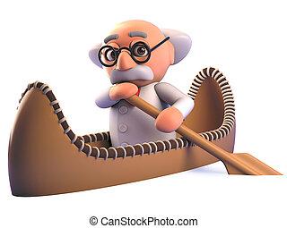 canoë, aviron, dessin animé, kayak, scientifique, professeur fou, 3d