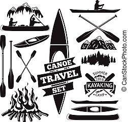 canoë, avirons, kayak, feu camp, vecteur, label., conception, deux, forêt, ensemble, homme, montagnes, elements., bateau