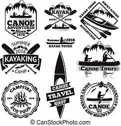 canoë, avirons, tours, feu camp, labels., vecteur, kayaking, homme, shop., bateaux, deux, forêt, ensemble, voyage, kayak, montagnes, bateau