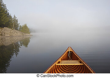 canoë-kayac, sur, a, brumeux, lac