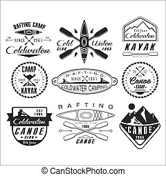canoë, kayak, éléments, conception, emblèmes, insignes