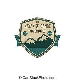canoë, kayak, colors., patch., design., vendange, isolé, rustique, retro, dessiné, blanc, insigne, stockage, badge., main, scout, aventure, fond, illustration, camp, aventures, emblem., vecteur