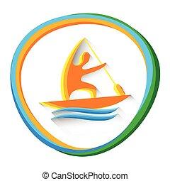 canoë, sprint, athlète, sport, concurrence, icône