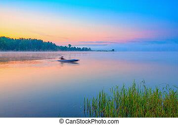 canoë, sur, a, forêt, lac, à, levers de soleil