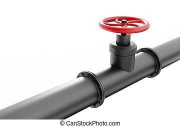 cano, óleo, pretas, válvula, vermelho