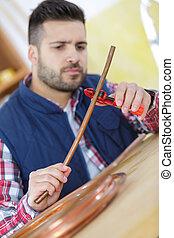 cano, cobre, encanador, corte, jovem