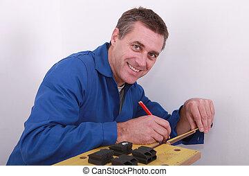 cano, cobre, encanador, marcação
