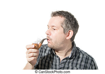 cano, fumar, homem