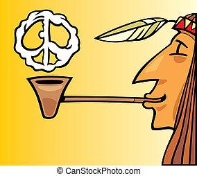 cano, fumar, indianas, paz