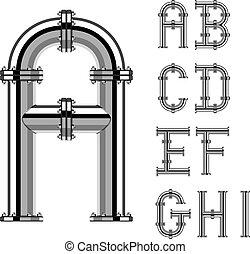 cano, letras, cromo, alfabeto, 1, vetorial, parte