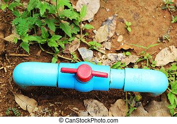 cano, pvc, -, girar, valve.