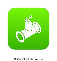 cano, torneira, ícone, verde