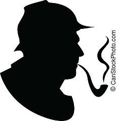 cano, vetorial, silueta, fumante