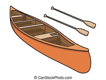 canoa, con, pagaia, in, vettore, illustrazione