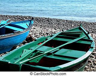 canoa, en, el, playa