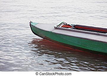 canoa, en, todavía agua