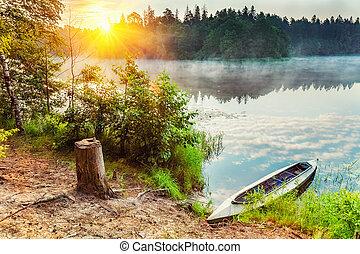 canoa, en, un, lago