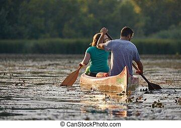 canoa, excursão, ligado, um, rio