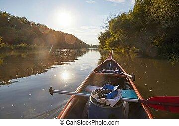 canoa, ligado, a, rio