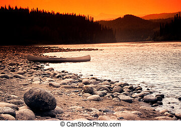 canoa, ligado, banco rio