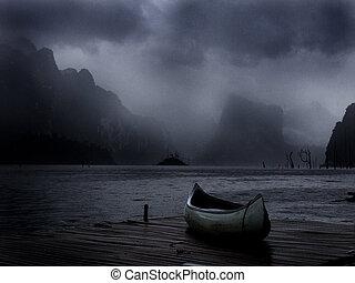 canoa, ligado, um, madeira, doca, -, tempestade, aproximar-se
