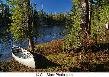 canoa, por, el, río