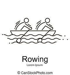 canoa, remar, race., set., competição, equipe, brincando,...